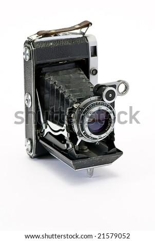 old photo cameras on white background - stock photo