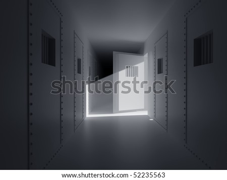 Old prison. Prison cell with lattices. - stock photo