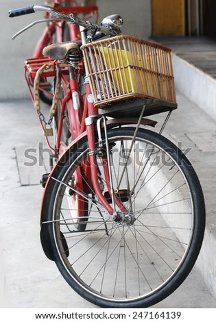 old red bicycle - stock photo