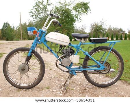 Old russian mini bike - moped Riga - stock photo