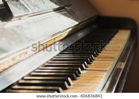 Old rusty piano keyboard, selective focus  - stock photo
