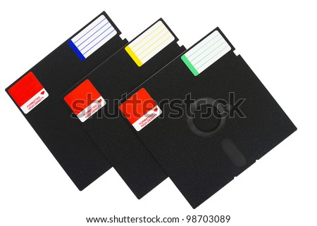 3 old school floppy disks, isolated on white background. - stock photo