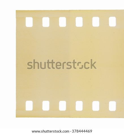 Old scratched film once used for photography and cinema movies isolated over white vintage