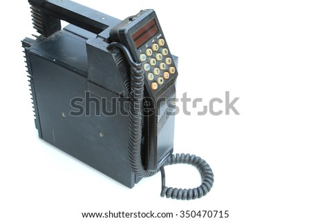 old style cellular mobile phone isolated on white background - stock photo