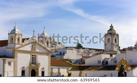 Old style view of the ancient town centre at the typical village of Lagos, Algarve, Portugal - stock photo