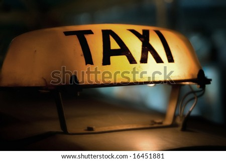 old taxi sign - stock photo
