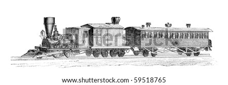 """Old time american train"". Illustration originally published in Hesse-Wartegg's ""Nord Amerika"", swedish edition published in 1880. - stock photo"