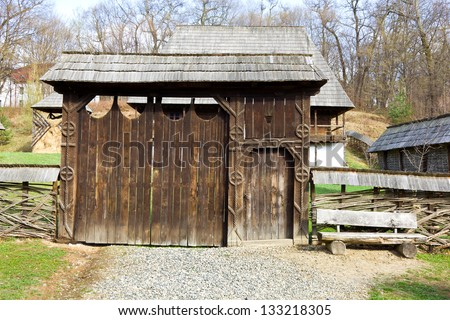 Old traditional romanian gate - stock photo