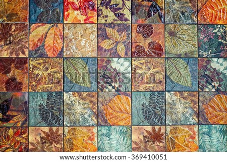 Old wall ceramic tiles patterns handcraft from thailand wall tiles patterns wall house design wall design wall building designed church wall  handcraft  ceramic design                   - stock photo
