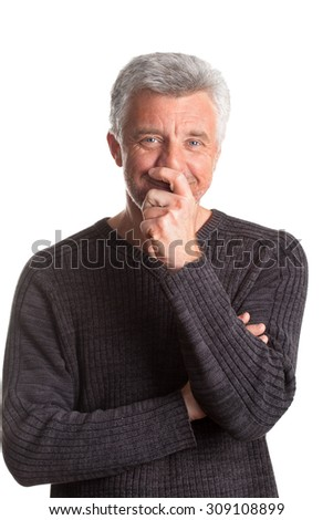 older gray-haired man smiling looking at the camera grey eyes