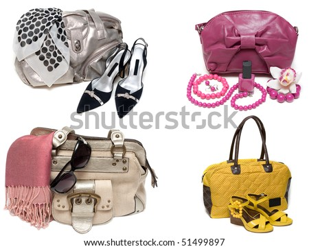 ?ollage from feminine bags, loafers and accessory insulated on white background. The Photography is formed from several pictures. - stock photo