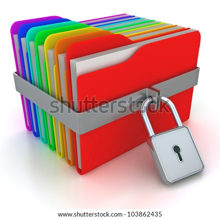 ?olorful computer folders with padlock. 3d image on a white - stock photo