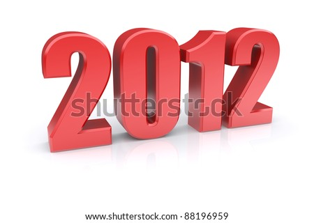 2012 on a white background. 3d rendered image