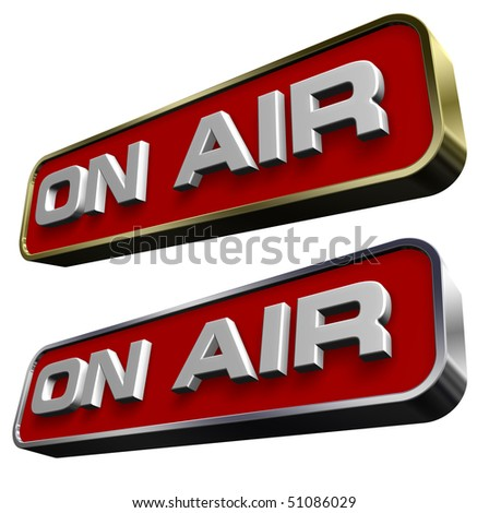 """""""On Air"""" sign. Computer generated 3D photo rendering. - stock photo"""