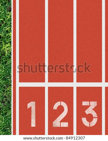 1 2 3 on red running track - stock photo