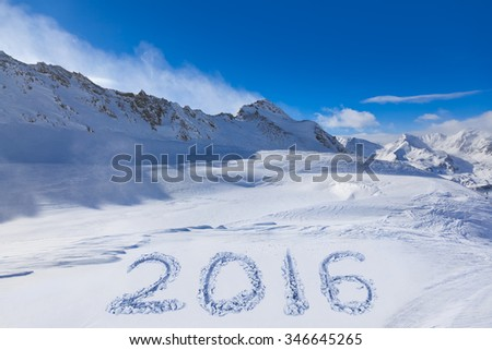 2016 on snow at mountains - Hochgurgl Austria - nature and sport background - stock photo