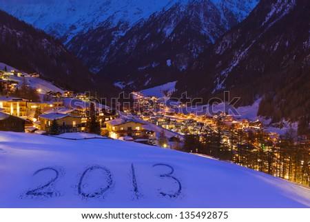 2013 on snow at mountains - Solden Austria - celebration background - stock photo