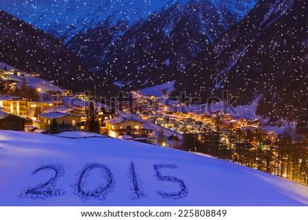 2015 on snow at mountains - Solden Austria - celebration background - stock photo