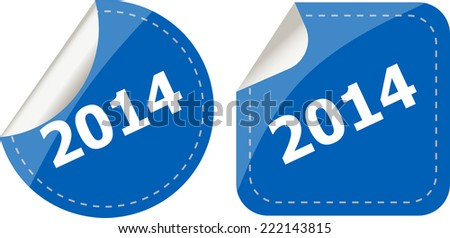 2014 on stickers button set, business label - stock photo