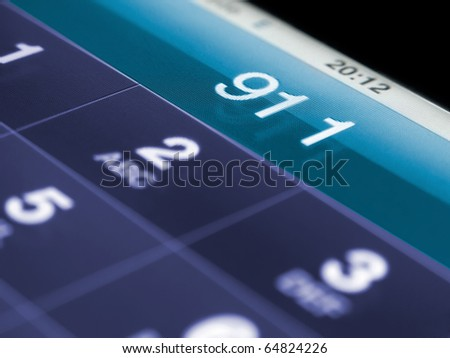 911 on the mobile phone,shallow DOF, for emergency and urgency themes - stock photo