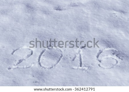 2016 on the snow for the new year and Christmas - stock photo