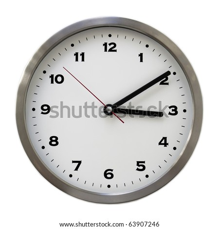 3:10 on the white wall clocks (isolated) - stock photo