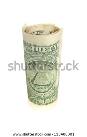 One dollar bill roll isolated on white - stock photo