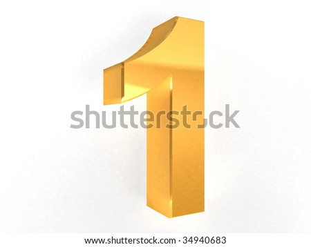 1 - one Gold Number on white background - 3d image