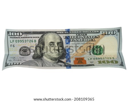 one hundred dollar bill isolated on white - stock photo
