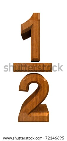 1/2 one quarter in wood - 3D made - stock photo