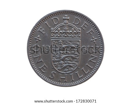 one shilling coin (GBP) released in 1961 - stock photo