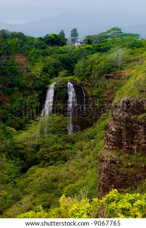 'Opaeka'a Falls on the island of Kauai, Hawaii. - stock photo