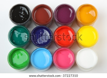 Open banks of a paint with various colours