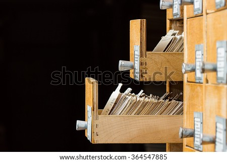 Open box in the archive library with copy space - stock photo