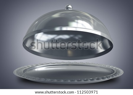 open empty metal silver platter or cloche with space to place object 3d render - stock photo