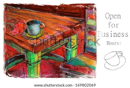 Open for Business Original Colorful Cafe Painting for Signs, Menus, and Business Cards - stock photo