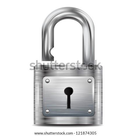 open metal padlock - stock photo
