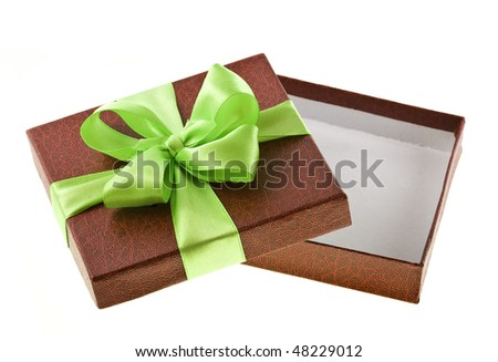 open present box with green bow  isolated on white background - stock photo