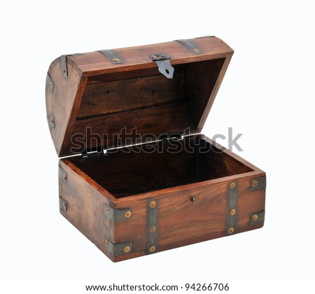 open wooden chest - stock photo