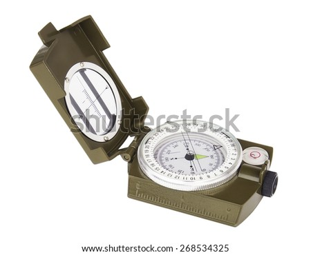 Opened military compass isolated on white background.