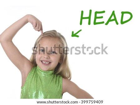 6 or 7 years old little girl with blond hair and blue eyes smiling happy posing isolated on white background pointing head in learning English language school education body parts card set - stock photo