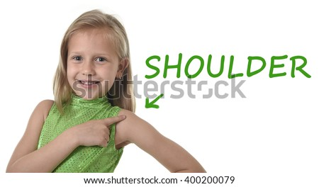 7 or 8 years old little girl with blond hair and blue eyes smiling happy posing isolated on white background pointing shoulder in learning English language school education body parts card set  - stock photo