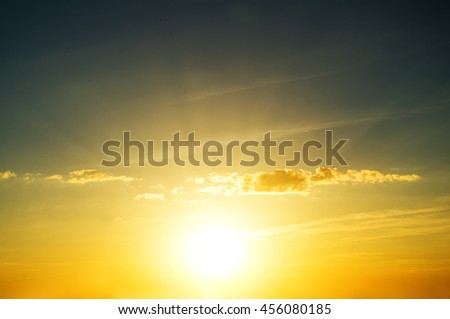 , Orange And Yellow Colors Sunset - stock photo