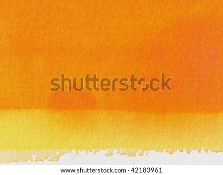 orange and yellow horizontal      abstract watercolor background - stock photo