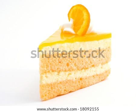orange cheesecake on white - stock photo
