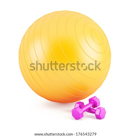 Orange Fitness ball,and pink weights - stock photo