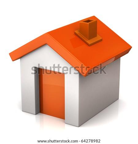 Orange house icon - stock photo