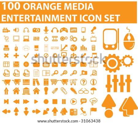 100 orange media icons. raster version. see vector version in my portfolio - stock photo