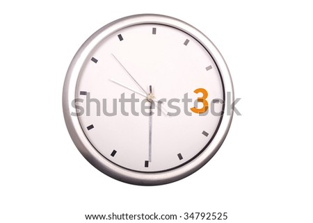 3 orange metallic modern wall clock white isolated
