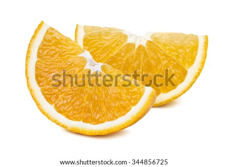 2 orange quarter slices isolated on white background as package design element - stock photo
